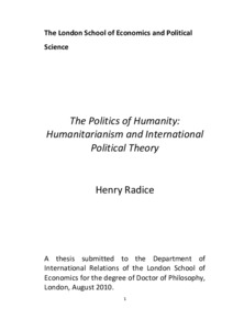 The politics of humanity: humanitarianism and international