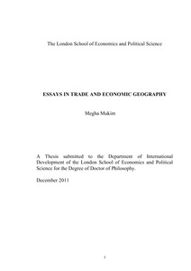 essays in trade and economic geography lse theses online