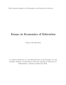 essays in economics of education lse theses online abstract