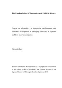 Essays On Disparities In Innovative Performance And Economic  Identification