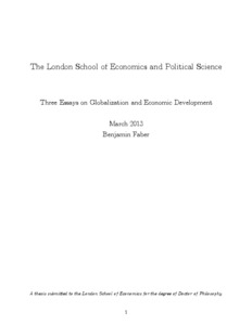 three essays on globalization and economic development lse