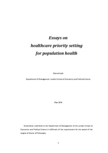 essays on healthcare priority setting for population health lse