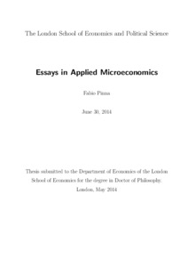 essays in applied microeconomics lse theses online